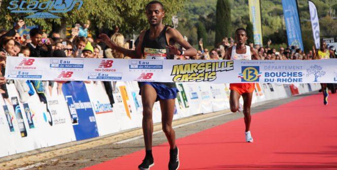 l'Éthiopien Olika Adugna, avec son dossard numéro 1, s'est imposé pour la deuxième année consécutive à Marseille-Cassis.