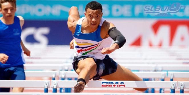 """Vainqueur de sa finale en 7""""34, Sasha Zhoya a explosé de six centièmes le record du monde juniors du 60 m haies."""