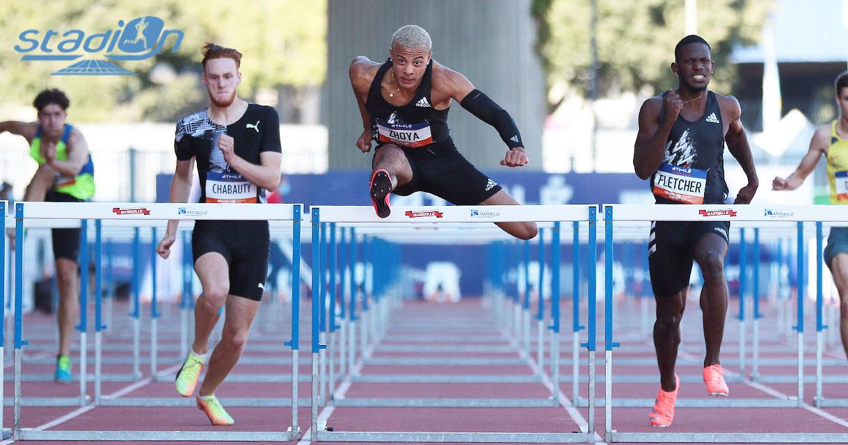 """Sasha Zhoya a bouclé son premier 110 m haies juniors en 13""""28 au Meeting de Marseille, ce jeudi."""