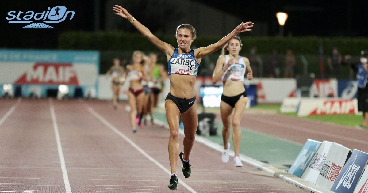 """Pour sa course de rentrée, la demi-fondeuse française de 19 ans Alessia Zarbo s'est classée cinquième en 15'54""""05 du 5000 m particulièrement dense de la Hayward Premiere à Eugene samedi."""